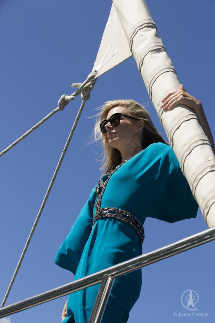The yacht cruises through the Caribbean.