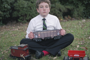 Major Plays with his Train.