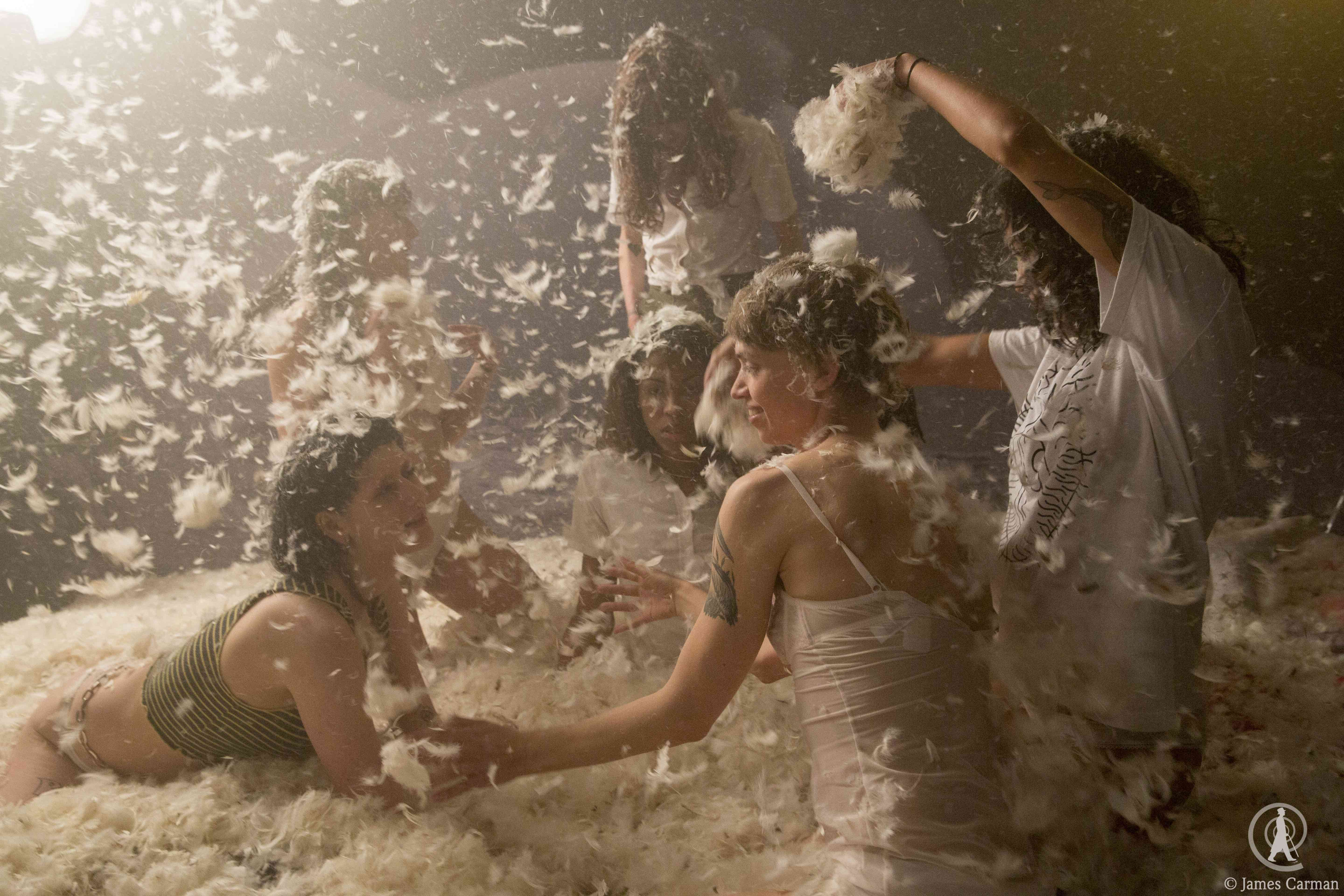 Pillow Fight! A scene from the set of Bruce LaBruce's, The Misandrists.